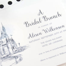 Load image into Gallery viewer, Disney World Castle Bridal Shower Invitations, Fairytale Wedding, Disney, Hand Drawn (set of 25 cards & envelopes)