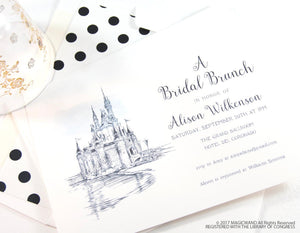 Disney World Castle Bridal Shower Invitations, Fairytale Wedding, Disney, Hand Drawn (set of 25 cards & envelopes)