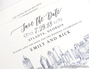 Atlanta Wedding Save the Date Cards, Save the Dates, Atlanta Skyline, Georgia Wedding, Hand Drawn (set of 25 cards and envelopes)