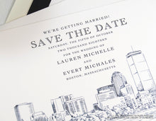 Load image into Gallery viewer, Boston Wedding, Boston Save the Date Cards, Save the Dates, Boston Skyline, Hand Drawn (set of 25 cards & envelopes)