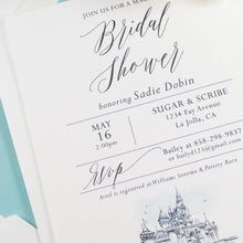 Load image into Gallery viewer, Disneyland Castle Bridal Shower Modern Invitations, Fairytale Wedding, Disney, Hand Drawn (set of 25 cards & envelopes)
