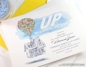 UP Bridal Shower Invitations, UP house, Balloons,  Fairytale Wedding, Disney bridal shower, Hand Drawn (set of 25 cards & envelopes)