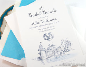 Little Mermaid Bridal Shower Invitations, Fairytale Wedding, Disney, Hand Drawn (set of 25 cards & envelopes)