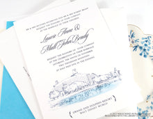 Load image into Gallery viewer, Swan and Dolphin Resort at Disney World Wedding Invitation Package (Sold in Sets of 10 Invitations, RSVP Cards + Envelopes)