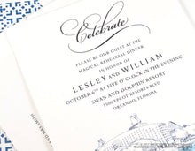 Load image into Gallery viewer, Swan and Dolphin Disney Resort, Orlando Rehearsal Dinner Invitations (set of 25 cards)