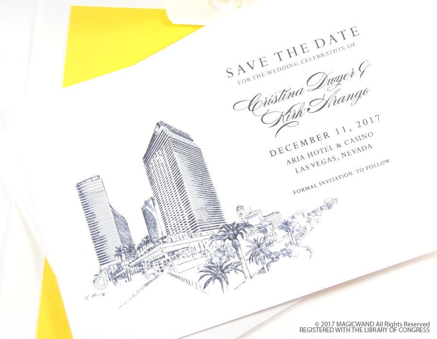 Cosmopolitan Hotel Las Vegas Save the Dates, Destination Wedding Save the Date, Las Vegas Wedding, Venue STD (set of 25 cards and envelopes)