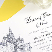Load image into Gallery viewer, Disneyland Castle Bridal Shower Invitations, Fairytale Wedding, Disney, Hand Drawn (set of 25 cards & envelopes)