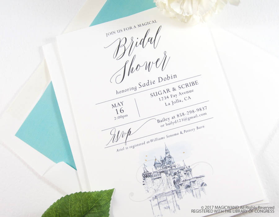 Disneyland Castle Bridal Shower Modern Invitations, Fairytale Wedding, Disney, Hand Drawn (set of 25 cards & envelopes)