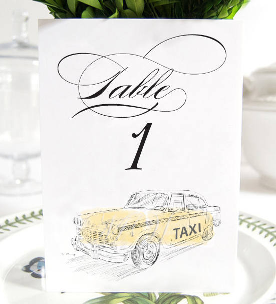 New York Taxi Table Numbers, NYC Wedding, Table Numbers (1-10)