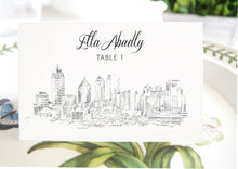 Load image into Gallery viewer, Atlanta Skyline Place Cards, Placecards, Escort Cards, Georgia Wedding, Southern Weddings, Custom with Guests Names (Set of 25 Cards)