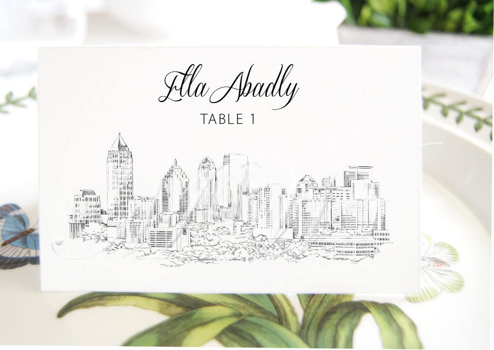 Atlanta Skyline Place Cards, Placecards, Escort Cards, Georgia Wedding, Southern Weddings, Custom with Guests Names (Set of 25 Cards)