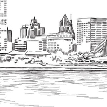 Load image into Gallery viewer, Milwaukee Skyline Dinner Menus, Menu Cards (Sold in sets of 25)
