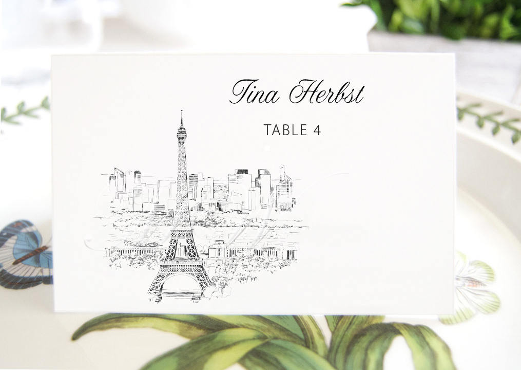 Paris Skyline Folded Place Cards BLANK, French Themed Wedding, Eiffel Tower Placecards, Seating Cards, Escort Cards  (Set of 25 Cards)