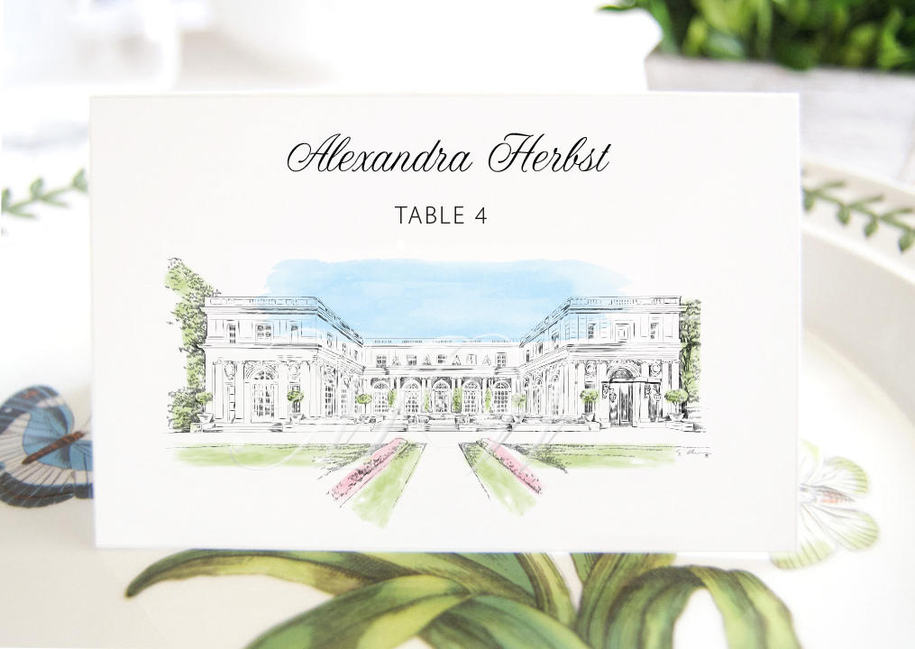Rosecliff Manor Folded Place Cards BLANK, Rhode Island Wedding, Placecards, Seating Cards, Escort Cards, Day of Event  (Set of 25 Cards)