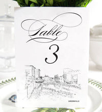Load image into Gallery viewer, Greenville Skyline Table Numbers, South Carolina Wedding (1-10)