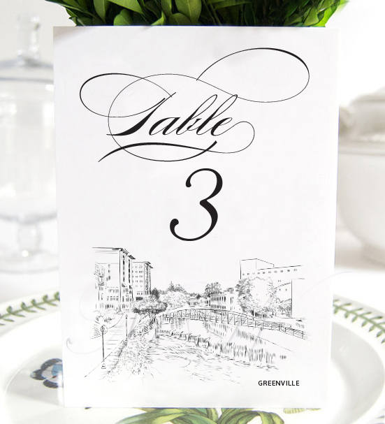 Greenville Skyline Table Numbers, South Carolina Wedding (1-10)