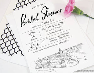 Athens, Georgia Skyline Bridal Shower Invitations, Georgia Wedding, Bridal Brunch, Bridal Luncheon (set of 25 cards & envelopes)