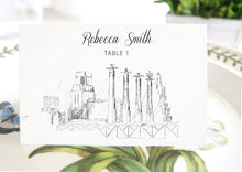 Load image into Gallery viewer, Kansas City Battle Hall View Skyline Place Cards, Placecards, Escort Cards, Wedding, Custom with Guests Names (Set of 25 Cards)