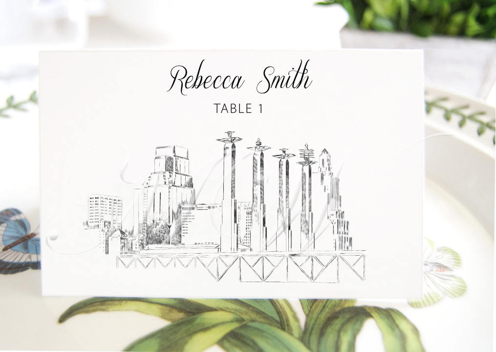 Kansas City Battle Hall View Skyline Place Cards, Placecards, Escort Cards, Wedding, Custom with Guests Names (Set of 25 Cards)