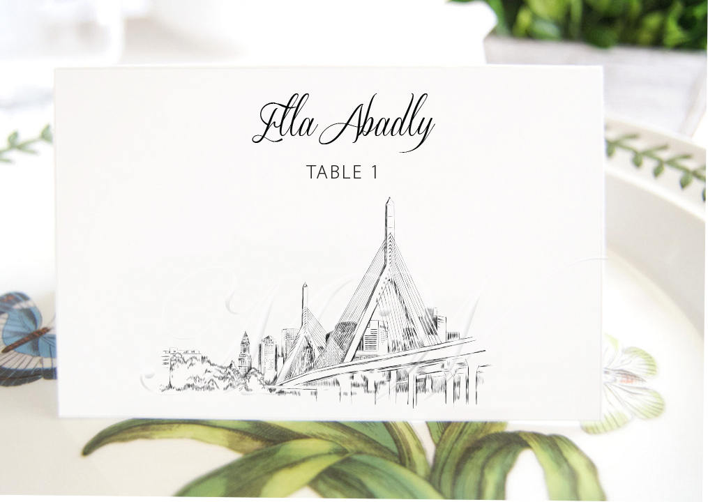 Boston Zakim Bridge View Skyline Place Cards, Placecards, Escort Cards, Wedding, Custom with Guests Names (Set of 25 Cards)