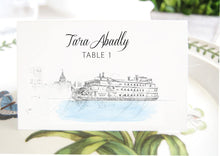 Load image into Gallery viewer, Georgia Queen Steamboat Place Cards, Placecards, Escort Cards, Wedding, Southern Wedding, Custom with Guests Names (Set of 25 Cards)