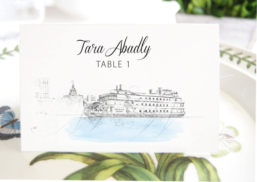 Georgia Queen Steamboat Place Cards, Placecards, Escort Cards, Wedding, Southern Wedding, Custom with Guests Names (Set of 25 Cards)