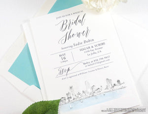 Milwaukee Skyline Bridal Shower Invitations, Milwaukee Wedding, Wisconsin, Bridal Brunch,  Hand Drawn (set of 25 cards & envelopes)