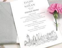 Load image into Gallery viewer, Atlanta Skyline Dinner Menus, Atlanta Wedding, Menu Cards (Sold in sets of 25)