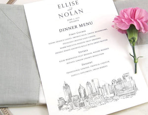 Atlanta Skyline Dinner Menus, Atlanta Wedding, Menu Cards (Sold in sets of 25)