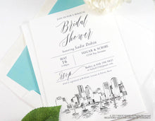 Load image into Gallery viewer, Boston Skyline Bridal Shower Invitations, Boston Wedding, Bridal Brunch, Bridal Luncheon (set of 25 cards & envelopes)
