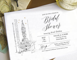 Philadelphia City Hall Skyline Bridal Shower Invitations, Philadelphia Wedding, Bridal Brunch, Bridal Luncheon (set of 25 cards & envelopes)