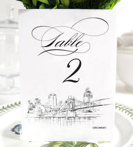 Cincinnati Skyline Table Numbers (1-10)