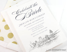 Load image into Gallery viewer, Cincinnati Skyline Bridal Shower Invitations, Cincinnati Wedding, Bridal Brunch, Bridal Luncheon (set of 25 cards & envelopes)
