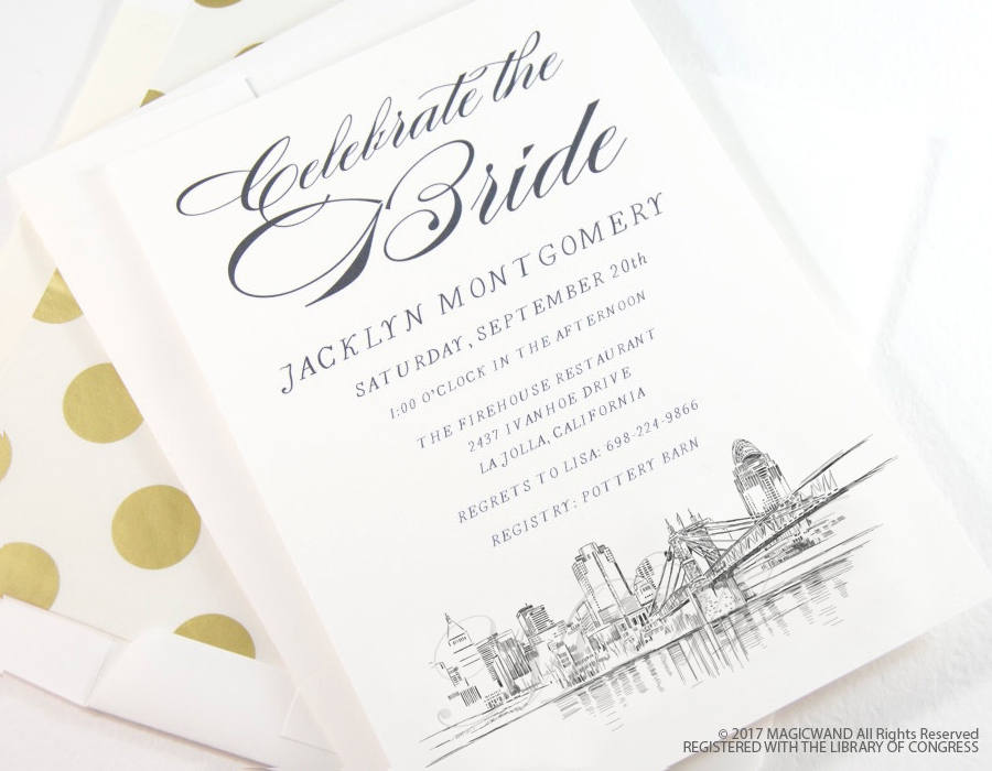Cincinnati Skyline Bridal Shower Invitations, Cincinnati Wedding, Bridal Brunch, Bridal Luncheon (set of 25 cards & envelopes)