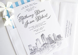 Tampa Skyline Wedding Invitation Package, Invite, Invitations, Florida Wedding (Sold in Sets of 10 Invitations, RSVP Cards + Envelopes)