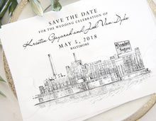Load image into Gallery viewer, Baltimore Skyline Save the Dates, Save the Date Cards, Wedding, STD, Baltimore Wedding, Save the Date, Maryland, Domino Sugar Building