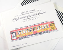 Load image into Gallery viewer, Trolley Car Save the Dates, Cable Car Save the Date Cards, Wedding, STD, Hand Drawn (set of 25 cards)