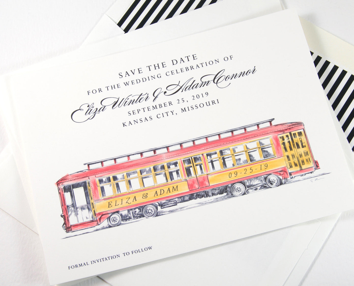Trolley Car Save the Dates, Cable Car Save the Date Cards, Wedding, STD, Hand Drawn (set of 25 cards)