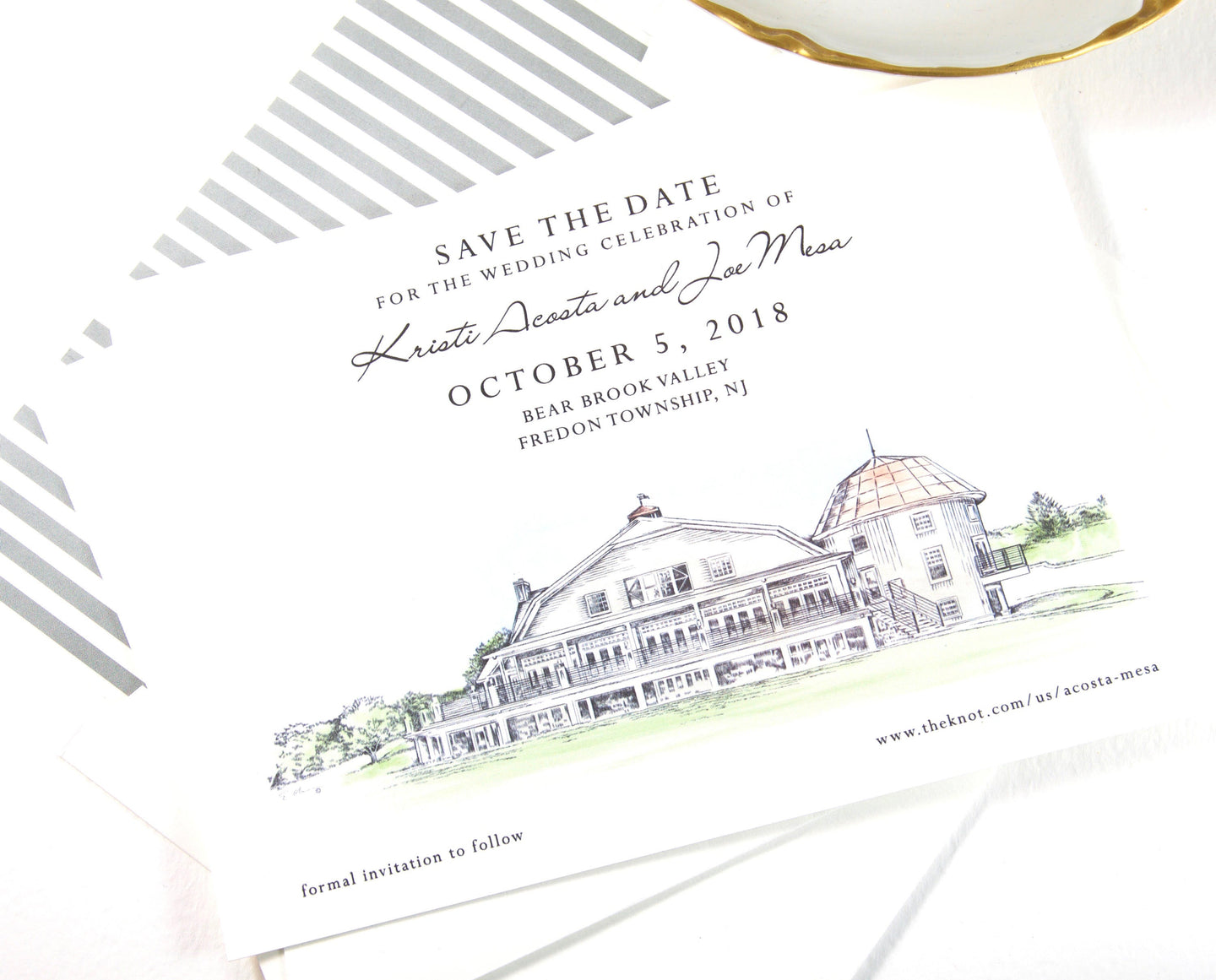 Bear Brook Valley Save the Dates, Cable Car Save the Date Cards, New Jersey Wedding, STD, Hand Drawn (set of 25 cards)