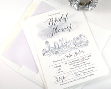 Load image into Gallery viewer, Atlanta Skyline Bridal Shower Invitations Watercolor, Atlanta Wedding, Georgia, Bridal Brunch, Bridal Luncheon (set of 25 cards & envelopes)