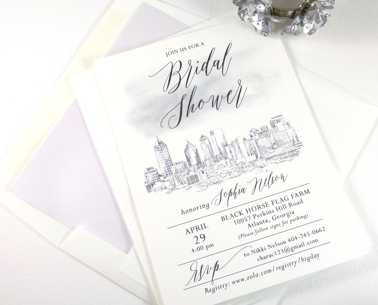 Atlanta Skyline Bridal Shower Invitations Watercolor, Atlanta Wedding, Georgia, Bridal Brunch, Bridal Luncheon (set of 25 cards & envelopes)