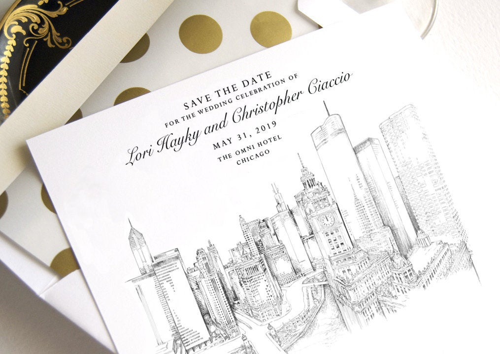 New Chicago Skyline View Save the Dates, Chicago Wedding Save the Date Cards, Chicago Wedding (set of 25 cards)
