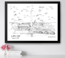 Load image into Gallery viewer, Washington, DC Wedding, Alternative Guest Book, DC Wedding Skyline, Guestbook, Wedding Guestbook, Party Supplies and Decor, Bridal Shower