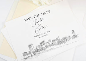 Richmond Skyline Save the Dates, STD, Richmond Wedding, Save the Date Cards, Save the Date, Virginia Wedding (set of 25 cards)
