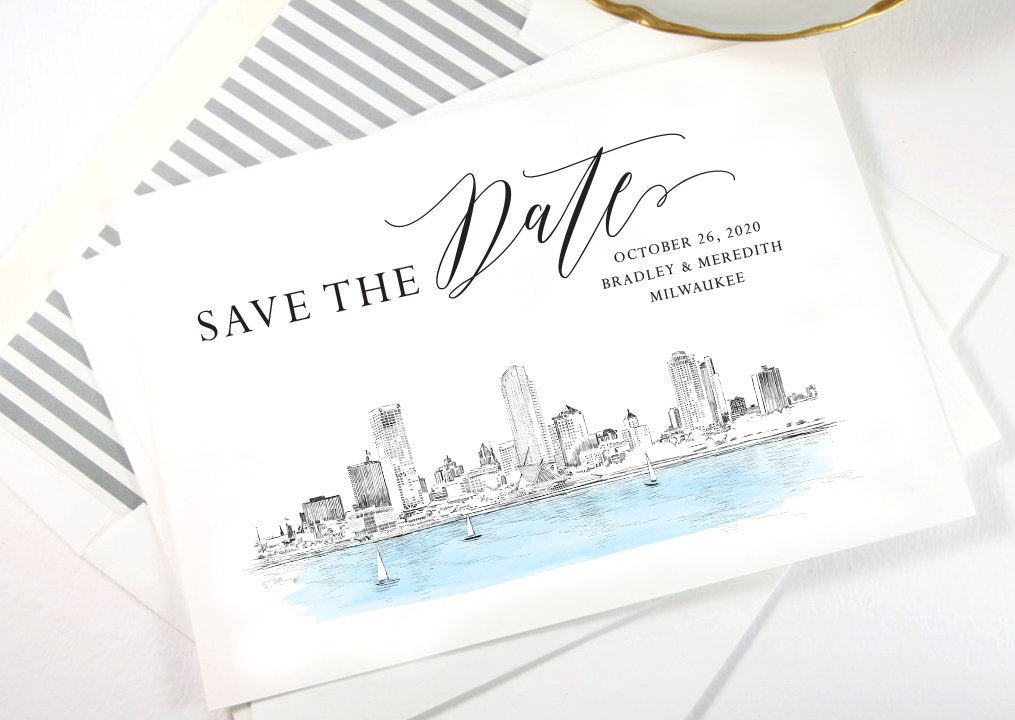 Milwaukee Save the Dates, Save the Date Cards, STD, Milwaukee Wedding, Wisconsin, Weddings (set of 25 cards and white envelopes)