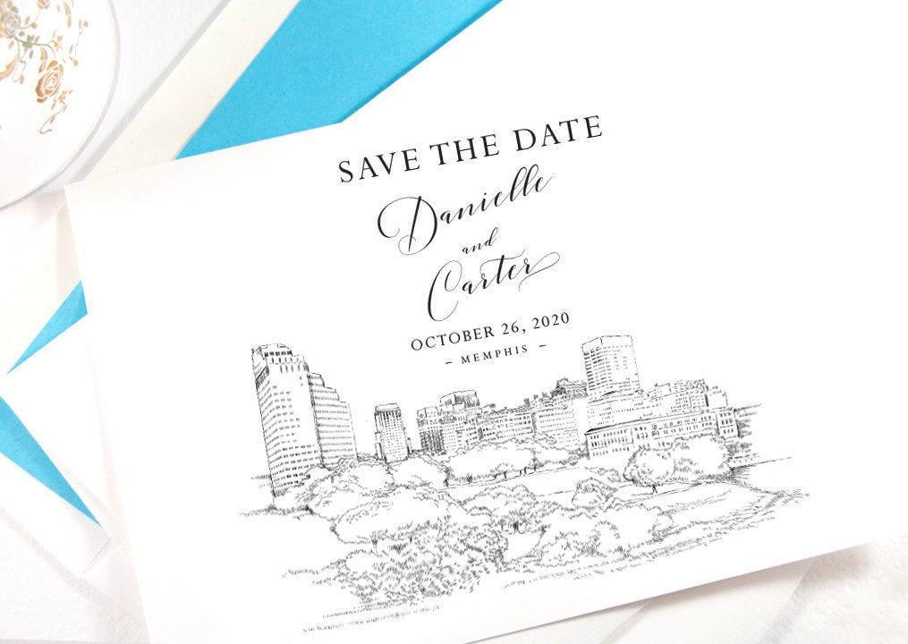 Memphis Save the Dates, Save the Date Cards, STD, Memphis Wedding, Tennessee Wedding (set of 25 cards)