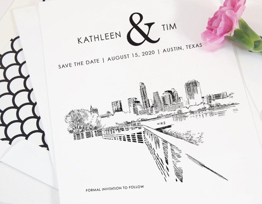 Austin Save the Dates, Save the Date Cards, STD, Texas Wedding, Austin Wedding, Weddings, Card (set of 25 cards)