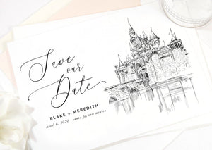 Disneyland Castle Save the Dates, Save the Date Cards Fairytale Wedding, Cinderellas's Castle Castle California, STD (set of 25 cards)