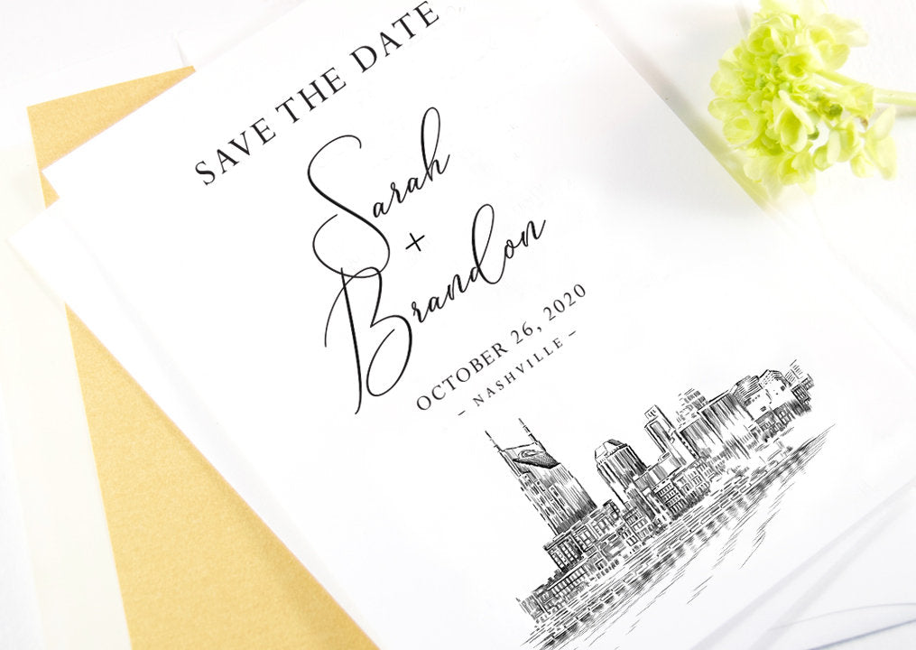 Nashville Skyline Save the Dates, Water View, STD, Nashville Wedding, Save the Date Cards, Tennessee (set of 25 cards)