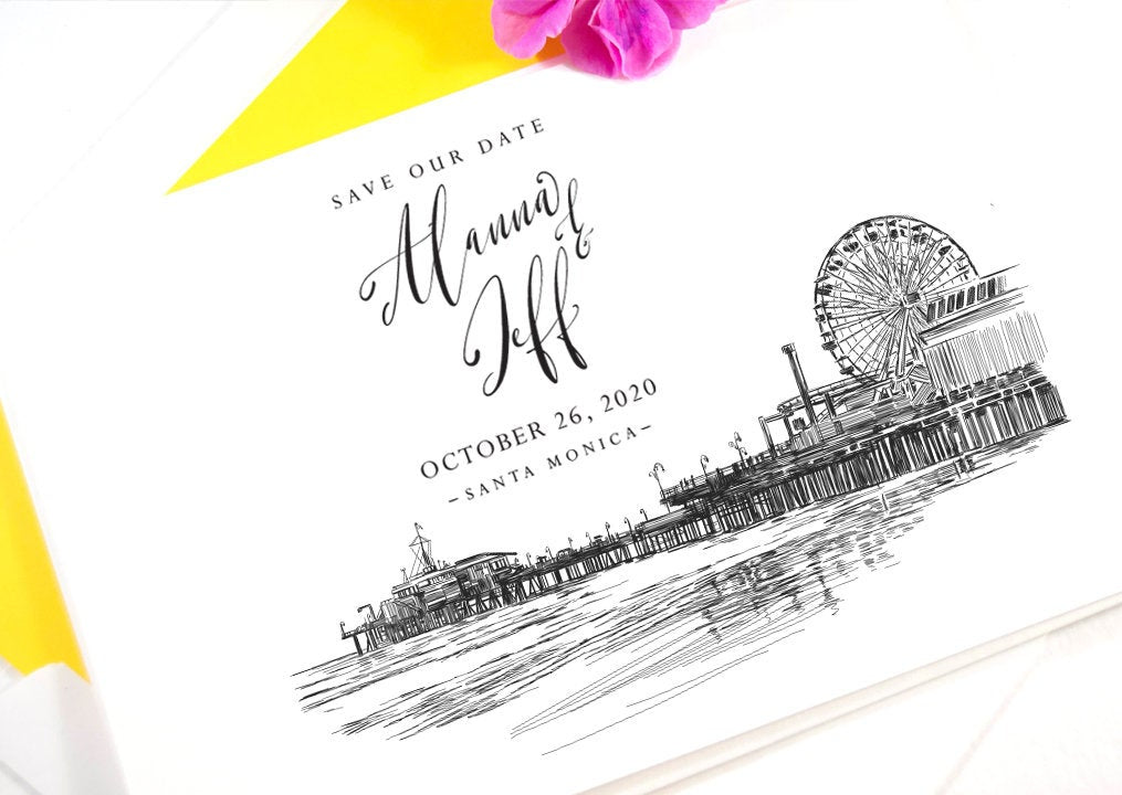 Santa Monica Pier Save the Dates, Los Angeles Wedding, STD,  Save the Date Cards (set of 25 cards)